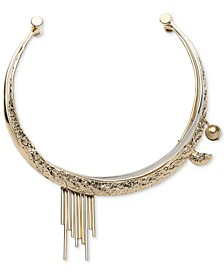 """Two-Tone Bead & Bar Hammered 15"""" Collar Necklace"""