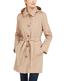 Hooded Water-Resistant Trench Coat