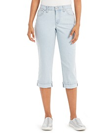 Striped Curvy-Fit Cuffed Capri Jeans, Created for Macy's