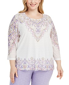 Plus Size Nantucket Printed Embellished 3/3-Sleeve Top