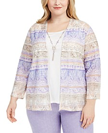 Plus Size Nantucket Printed Layered-Look Necklace Top