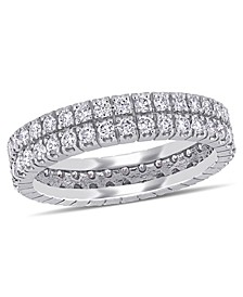 Certified Diamond (1 ct. t.w.) Double Row Eternity Ring in 14k White Gold