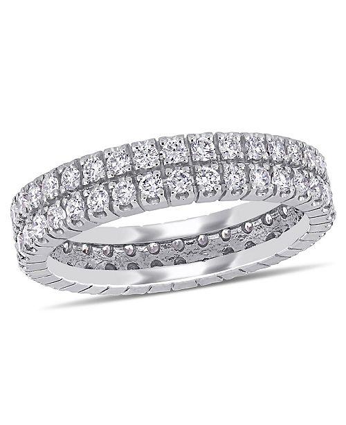 Macy's Certified Diamond (1 ct. t.w.) Double Row Eternity Ring in 14k White Gold