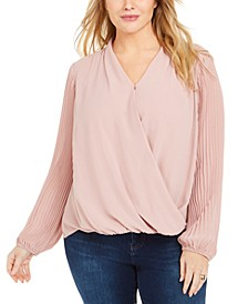 Plus Size Pleated-Sleeve Cross-Front Top, Created for Macy's