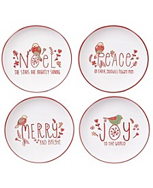 Holiday Greetings 4-Pc. Dessert Plates