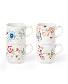 Butterfly Meadow Kitchen Stack Mugs Set/4, Created for Macy's