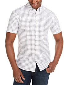 Men's Slim-Fit Stretch Tile-Print Shirt