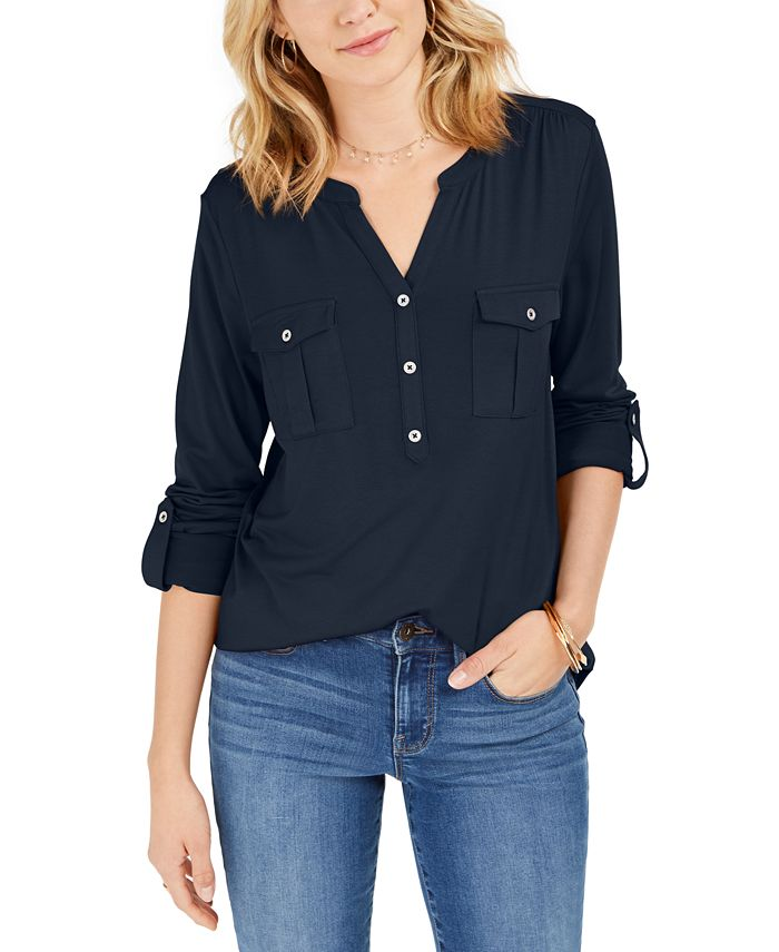 Style & Co - Plus Size Roll-Tab Buttoned-Neck Top