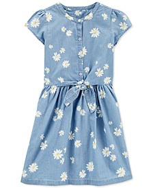 Little & Big Girls Daisy-Print Bow Chambray Cotton Dress