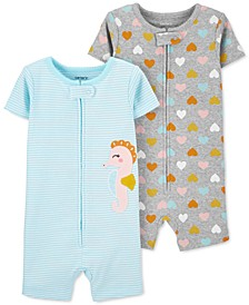 Baby Girls 2-Pk. Seahorse & Heart-Print Cotton Romper Pajamas