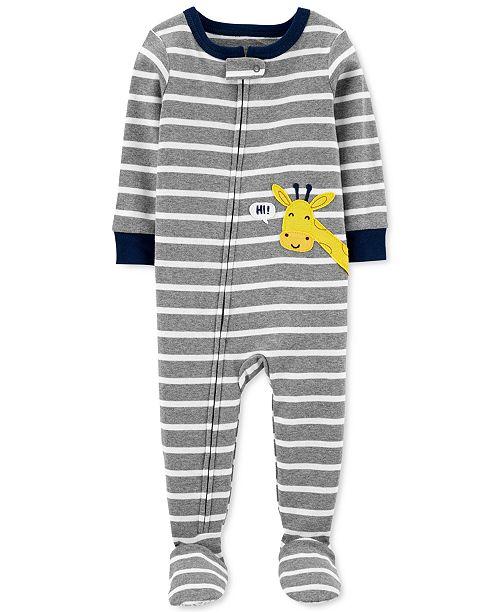 Carter's Baby Boys 1-Pc. Striped Giraffe Cotton Footed Pajamas