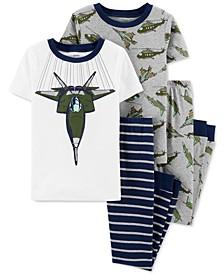 Little & Big Boys 4-Pc. Aircraft Cotton Pajamas Set