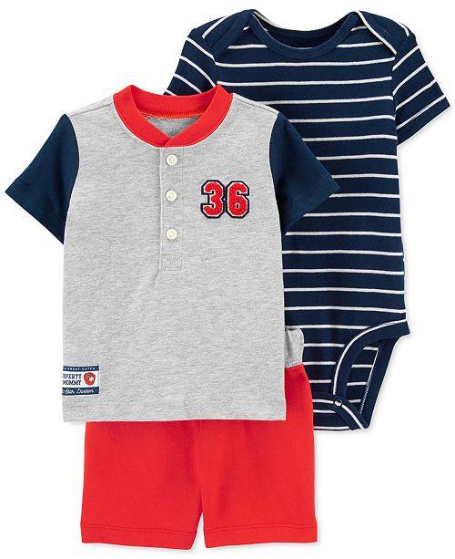 Carter's Baby Boys 3-Pc. Cotton Baseball T-Shirt, Bodysuit & Shorts Set