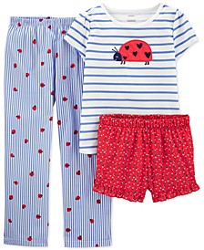 Little & Big Girls 3-Pc. Ladybug Pajamas Set