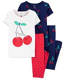Little & Big Girls 4-Pc. Cherries Cotton Pajamas Set