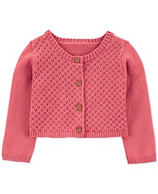 Baby Girls Cotton Lace-Front Cardigan