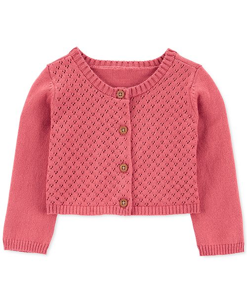 Carter's Baby Girls Cotton Lace-Front Cardigan