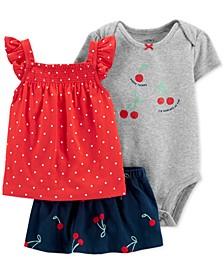 Baby Girls 3-Pc. Cotton Cherry Shirt, Bodysuit & Skort Set