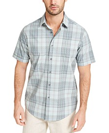 Men's Stretch Geo Plaid Shirt, Created for Macy's