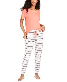 Ribbed Pajama T-Shirt & Pajama Jogger Pants, Created For Macy's