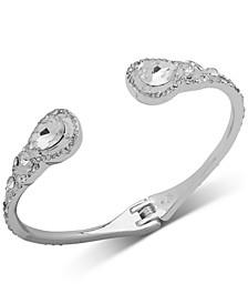 Silver-Tone Crystal Teardrop Cuff Bracelet