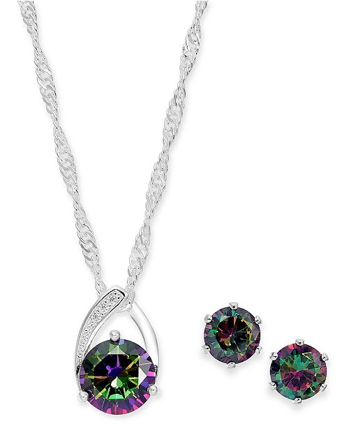 Charter Club Silver-Tone Crystal Pendant Necklace & Stud Earrings Set, Created For Macy's