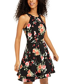 Juniors' Floral-Print Mesh-Trim Fit & Flare Dress