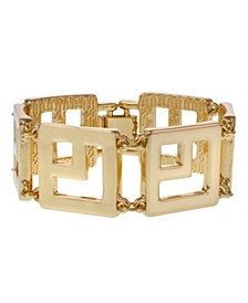 Gold Tone Square Link Clasp Bracelet