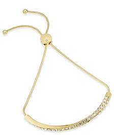 Gold-Tone Pavé Twist Bar Slider Bracelet, Created for Macy's