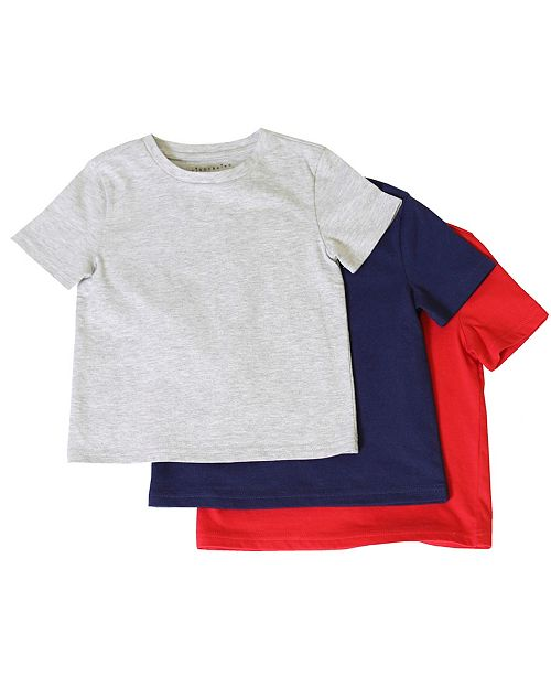 Kinderkind Toddler and Little Boys 3-Pack Solid Gray/Navy/Red Short-Sleeve Tee Shirts