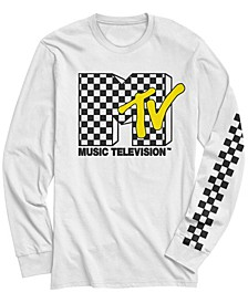 Men's Retro Checkered Logo Long Sleeve T- shirt