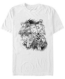 DC Men's Justice League Group Sketch Short Sleeve T-Shirt