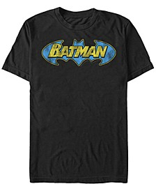 DC Men's Batman Classic Distressed Bat Text Logo Short Sleeve T-Shirt