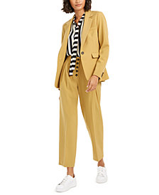 Bar III One-Button Jacket, Striped Tie-Neck Blouse & Pleat-Front Pants, Created For Macy's