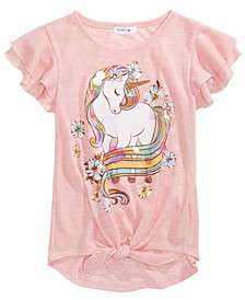 Big Girls Glitter Unicorn Flutter-Sleeve Top