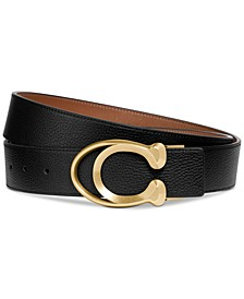 Men's Logo-Buckle Leather Belt