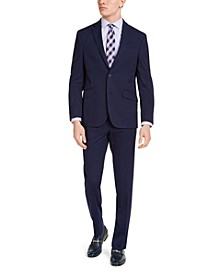 Men's Slim-Fit Techni-Cole Stretch Navy Striped Suit, Created for Macy's