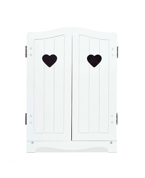 """Melissa and Doug Melissa Doug Mine to Love Wooden Play Armoire Closet for Dolls, Stuffed Animals - White 17.3""""H x 12.4""""W x 8.5""""D Assembled"""