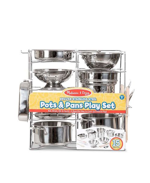Melissa and Doug Melissa Doug Deluxe Stainless Steel Pots Pans Play Set Pretend Cooking 15 Pcs