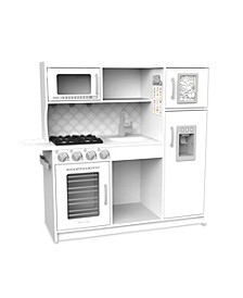 "Melissa Doug Wooden Chef's Pretend Play Toy Kitchen With ""Ice"" Cube Dispenser – Cloud White"