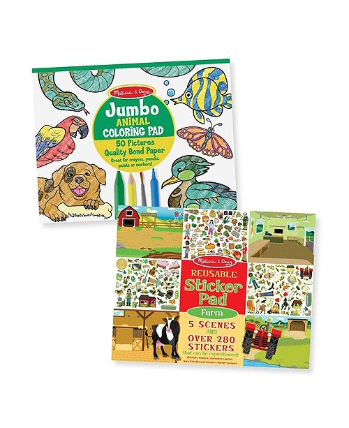 Melissa and Doug Melissa Doug Jumbo Coloring Pad- Animal Reusable Sticker Pad - Farm Bundle
