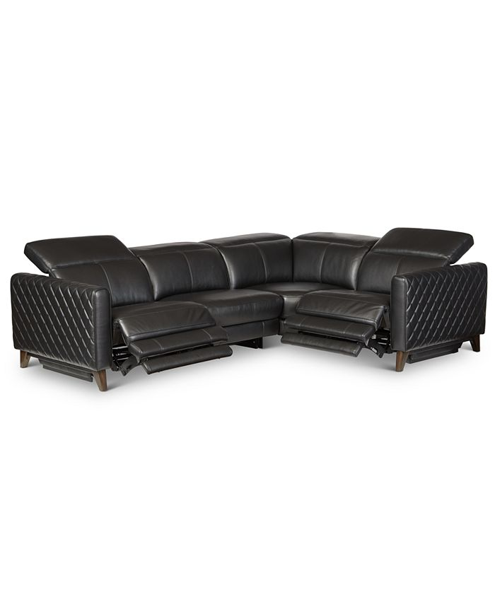 Furniture - Jaconna 4-Pc. Leather Sectional with 2 Power Recliners