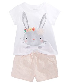 Baby Girls Bunny-Print T-Shirt & Eyelet Shorts, Created for Macy's