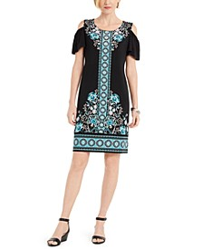 Printed Cold-Shoulder Hot-Fix Dress, Created for Macy's