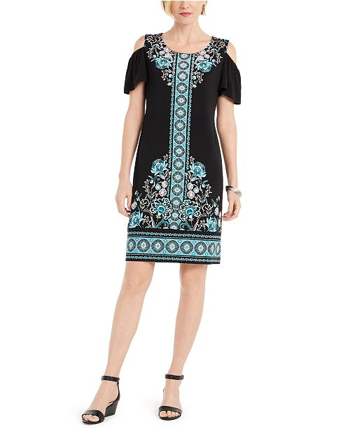 JM Collection Printed Cold-Shoulder Hot-Fix Dress, Created For Macy's