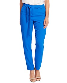 Slim-Leg Belted Pants