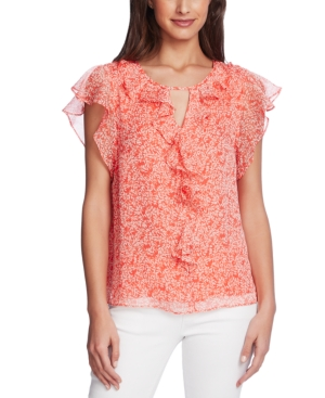 Vince Camuto Printed Flutter-sleeve Blouse In Melon