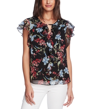 Vince Camuto Floral Print Flutter Sleeve Chiffon Top In Rich Black