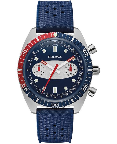 Bulova Men's Chronograph Archive Surfboard Blue Silicone Strap Watch 40.5mm