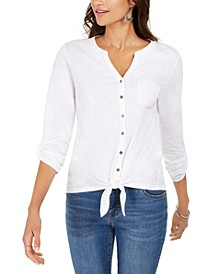 Eyelet-Pocket Tie-Front Top, Created for Macy's